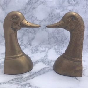 Vintage Brass Duck Bookend PAIR w/Patina